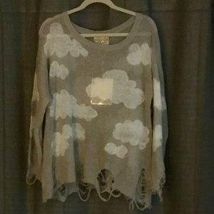 Wildfox White Label Distressed Cloud Sweater, S-XL